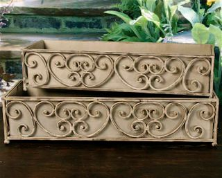 Set of 2 Iron Dover Scroll Window Box Deck Planters