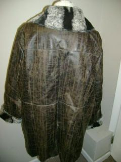 Dennis Basso Distressed Faux Leather Jacket 1x