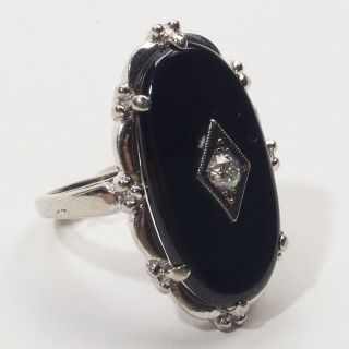 Antique Deco White Gold Onyx Diamond Cocktail Ring Vintage Fine