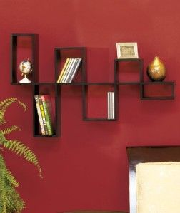 Modular Wall Shelves Contemporary Decor DVD Storage Organizer BLACK