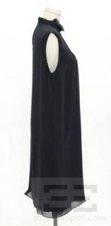 Derek Lam Navy Blue Silk Chiffon Pleated Sleeveless Dress