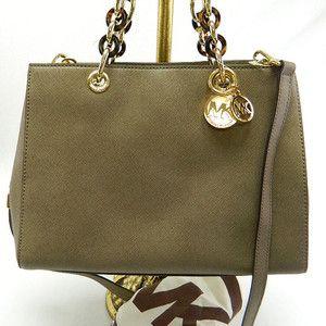 Michael Kors AUTH Dark Dune Cynthia Medium Leather Satchel Handbag 328