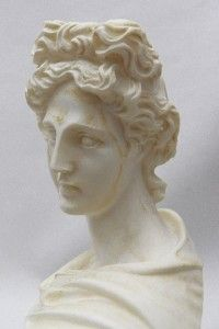 Lovely Classical Bust of Greek God APOLLO Carved Marble? Artist SIGNED