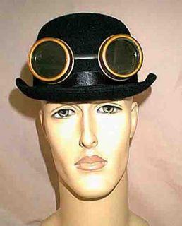 Steampunk Edwardian Black Felt Derby Hat w Brown Copper Goggles