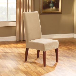 Fit Slipcovers Stretch Pique Shorty Dining Room Chair Cover Cream NEW