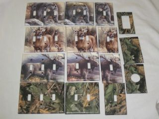 Realtree Camo Bear Deer Moose Light Switch Plate Cover Hunting Lodge