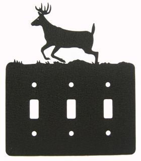Deer Black Metal Triple Light Switch Plate Cover