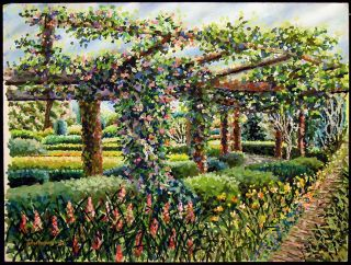 Original Gouache Painting on Paper of Garden Arbor Floral