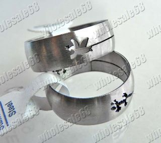 Wholesale Lots 30pcs Favor Design round Cut Stainless Steel Man Rings
