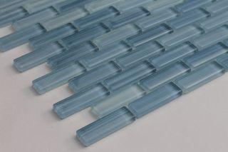 Light Blue Hand Painted Glass Subway Mosaic Tile Kitchen Bathroom