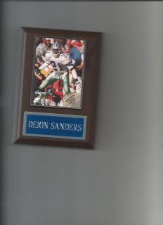 DEION SANDERS PLAQUE DALLAS COWBOYS NFL FOOTBALL WHITE AND SILVER BLUE