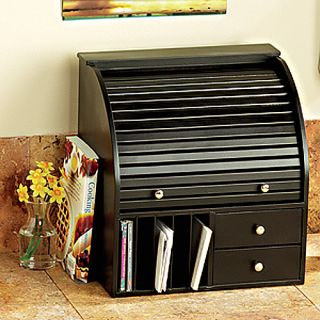 Black Wood Rolltop Desk Organizer New