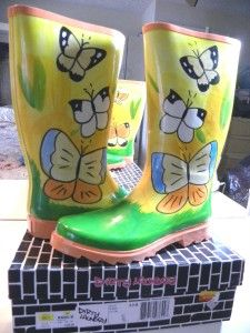 Dirty Laundry Yellow Green Butterfly Rubber Rain Boots New in Box $60