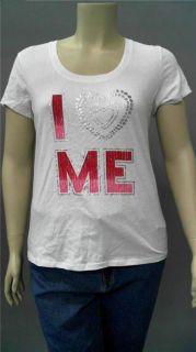 Designer I Heart Me Ladies Womens M Graphic Short Sleeve T Shirt Tee