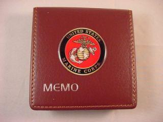 USMC US MARINE CORPS LOGO MAROON DESK MEMO NOTE PAD & HOLDER NEW