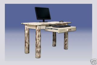 Solid Pine Laptop Table Computer Desk Small Log Desk