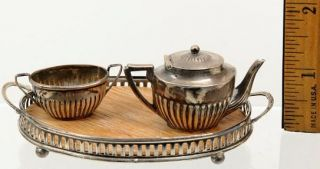 Antique English Sterling Silver Miniature Tea Set and Tray Circa 1905