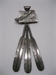Delbert Vandever Navajo Sterling Silver & Turquoise Pendant w Feathers