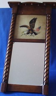Vintage Wooden Wall Mirror w Reverse Painted Eagle Top Panel