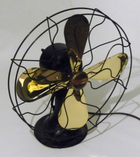 Brass Four Blade Peerless 3 Speed Vintage Desk Oscillating Fan 1920s