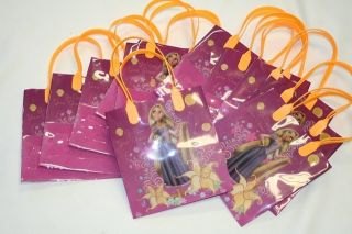 NEW 12 Pink Orange Tangled Disney Reusable Candy Party Gift Bags Totes