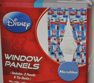 DISNEY PIXAR CARS Mcqueen Mater Finn Mcmissile WINDOW CURTAINS DRAPES