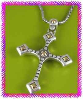 brighton silver dharma cross long necklace nwotag