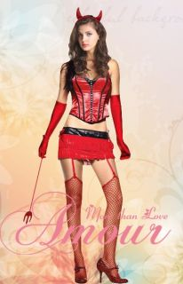 Sexy Devil Girl Halloween Costume Top Skirt w Accessories HH3010