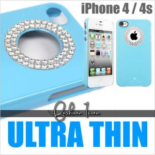 White Diamante Diamond Bling Crystal Blue Hard Case Cover For iPhone 4