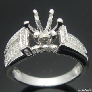 14k White Gold Diamond Semi Mount Engagement Rings Setting Round 6mm
