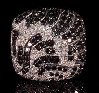 ctw White Black Pave Diamond 14kt White Gold Cluster Dome Design Ring