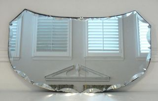 Vintage Art Deco Scalloped Diamond Point Beveled Glass Mirror w Fleur