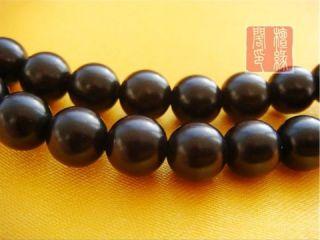 8mm Black Sandalwood Dharma Wheel Prayer Bead Mala Necklace 32