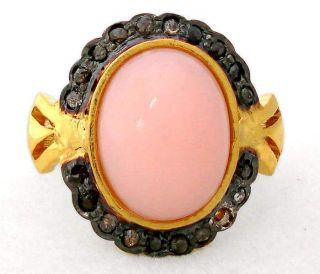 FASCINATING PINK OPAL DIAMOND GOLD 925 STERLING SILVER RING Sz 7 A1717