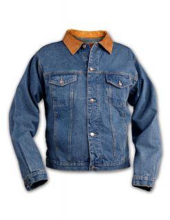 Brand New Mens Denim Jean Jacket Leather Collar Coat Sizes XS 3XL