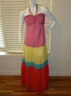 DKNY DKNYC Strapless Tiered Colorblock Maxi Dress Pink Yellow Blue