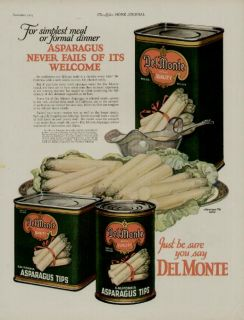 1925 DEL MONTE ASPARAGUS AD / GREAT KITCHEN ART WORK SHOWING 3
