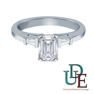 Diamond 3  Stone Engagment Ring with 1.18 CARAT Emerald Cut in 14k G H