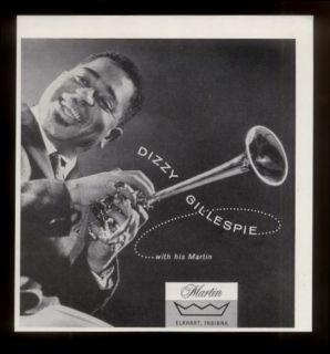 1960 Dizzy Gillespie Photo Martin Trumpet Vintage Print Ad