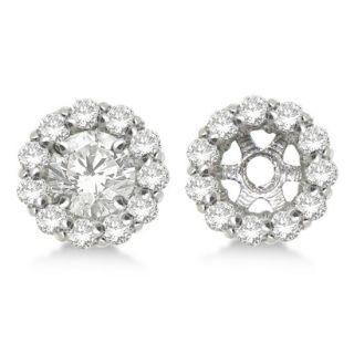 35ct Round Cut Circle Diamond Earring Jackets 14k White Gold G H SI