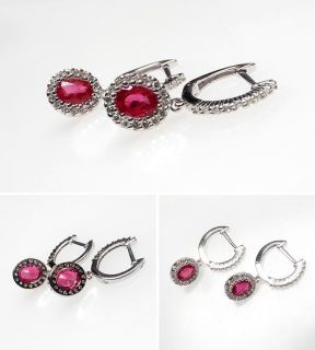 Natural Ruby & Diamond Dangle Earrings Solid 14K White Gold Jewelry