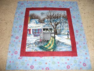 Christmas Scene Amish Buggy Clothes Quilts Quilt Top Fabric