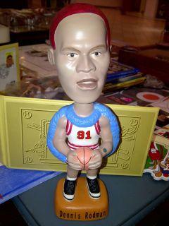 1997 DENNIS RODMAN BULLS SAMS RED HAIR BOBBING BOBBLE HEAD DOLL NEW IN