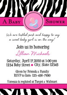 Zebra Animal Print Pink Baby Shower Party Invitations