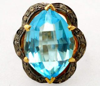 DELIGHTFUL BLUE TOPAZ NATURAL DIAMOND GOLD 925 SILVER RING Sz 8 A1490