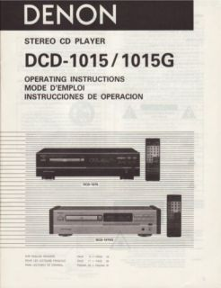Denon DCD 1015 CD Player Owners Manual Printed in English French