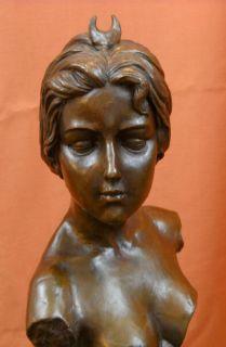 Diana Diane Bronze Bust Sculpture E Villanis Statue Art Nouveau Moon