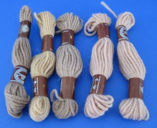 Lot of 5 Skeins DMC Needlepoint Tapestry Embroidery Wool Yarn Tan