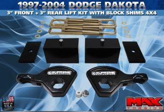 1997 2004 Dodge Dakota 3 Front 3 Rear Full Lift Kit Block Shims 4x4