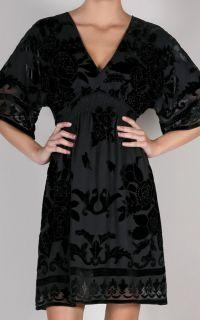 Hale Bob Black Velvet Beaded Burnout Dress s New